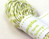 Bakers Twine - BRIGHT & BOLD Honeydew Melon Green and White String-crafting, gift wrapping, packaging, invitations - 15 yards
