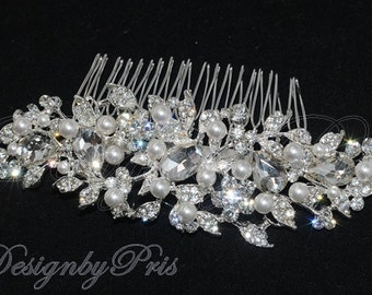 Bridal Accessories Wedding Hair Accessories Bridal Rhinestone Pearls Comb NEW -  Bridal Crystal and Swarovski Pearls Hair Comb (S-6)