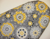 Standard Ironing Board Cover - Large Flowers - Yellow Grey White - Laundry - Sewing Room - Home Decor - House Warming - Cover for Iron Board