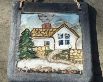 Winter Scene Stoneware Hanging Tile