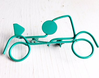 Teal Bicycle Brooch / Vintage Wire Pin / Enamel Retro Jewelry Cyclist Gift Peddle Bike Lover