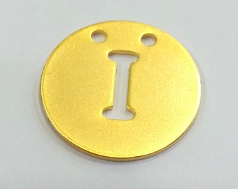 20mm  Letter I Pendant , Gold Plated Brass G2336