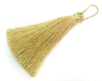 14 pcs Gold Tassel ,  Large Thick   113 mm - 4.4 inches   G2829