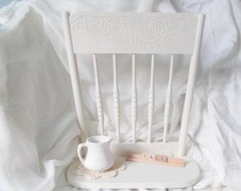 Shabby Chic Shelf Hanging White Wood Chairback Shelf Wall Decor Farmhouse Wedding Photo Prop