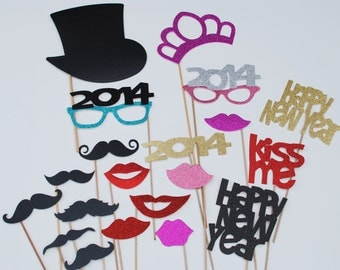2017 New Years Party Photo Prop 25 piece set  mustache on a stick ASSEMBLED SET