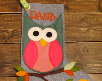 Owl Wool Felt Christmas Stocking Handcut and Sewn together Choose from several designs Gnome Rescue Cars Owl Fox Train