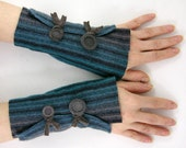 Striped Felted wool fingerless gloves blue brown recycled wool arm warmers fingerless mittens eco friendly fashion