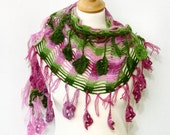 Crochet shawl lace woodland scarf spring wrap shawl pink green wrap long scarf with fringes and granny squares applique