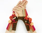 Striped fingerless gloves brown colorful recycled wool arm warmers fall colors fingerless mittens eco friendly