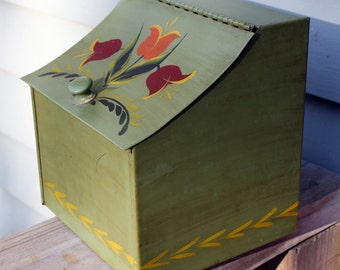 Tole Salt Box, Painted, Green, Loden, Flowers, Tulips, Metal, Box, Folk Art, Pennsylvania Dutch Early American,Colonial, Cottage Chic, Cabin