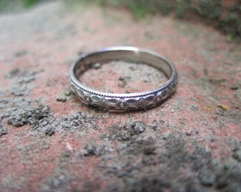 Exquisite Sterling Silver Band Ring, Wedding Band, Stack Ring (C)
