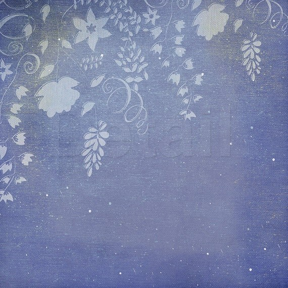 Flower Digital Papers, Spring Floral Paper, Periwinkle