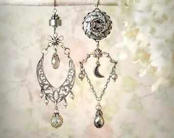 Moonshadow Asymmetrical Earrings Silver Tribal Earrings Gray Grey Earrings Pyrite Jewelry Romantic Earrings Rustic Leaf Earrings Boho Moon