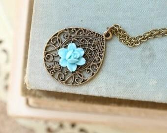 Filigree Drop Necklace, Blue Flower