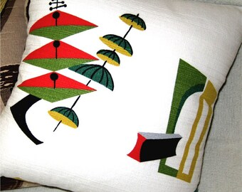 Mid Century Modern Pillow - Atomic 50s Jetsons Vintage Barkcloth Pillow Cover -  Spacely Sprocket -  Shown with 18 inch X 18 inch insert