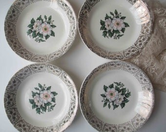 Vintage Soup Bowls Pink Gold Floral Cronin Set of Four - Mid Century