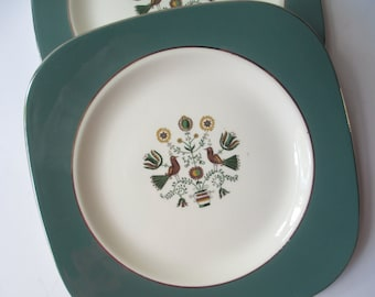 Vintage Homer Laughlin Persian Garden Square Salad Plate Pair
