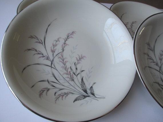 Vintage Pink Gray Prestige Fine China Garden Queen Soup Bowls Set of Four