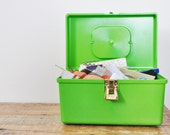 Vintage Small Lime Green Plastic Sewing Box Full of Supplies