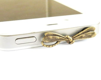 Dragonfly iPhone Dust Plug- Anti-Dust Plug For Headphone Jack- Cellphone/ iPhone Accessories- Brass Finish