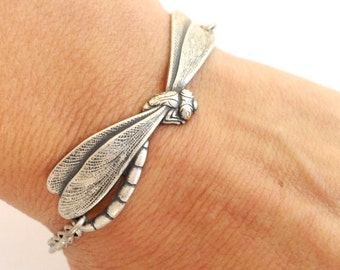 Steampunk Dragonfly Bracelet- Sterling Silver Ox or Antiqued Brass Ox Finish- Personalized Bracelet