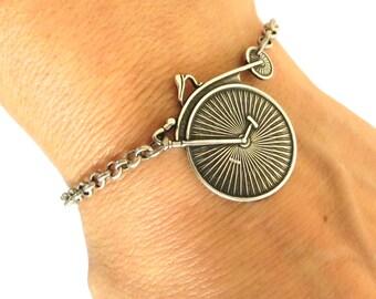 Steampunk Retro Bicycle Bracelet- Sterling Silver Ox Finish- Bike Bracelet