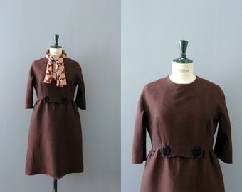Vintage 1950/60s dress. Mollie Parnis brown dress with scarf