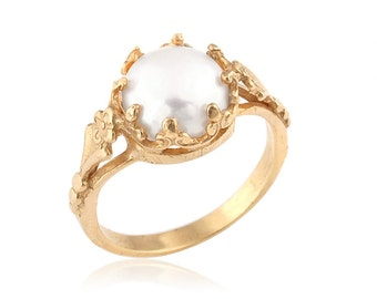 Gold Plated Victorian Freshwater Cultured Pearl Engagement Ring, Engagement Rings