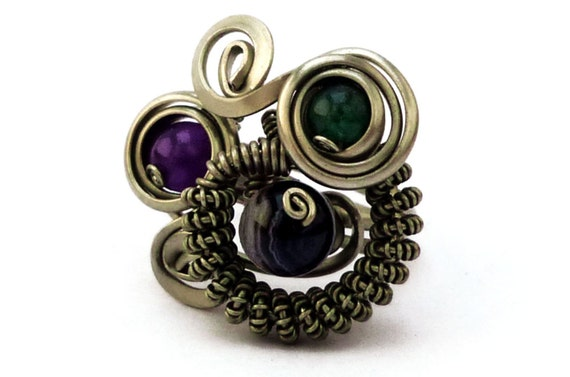 Steampunk Ring, Wire Wrap Ring, Mulstistone Ring, Gothic Ring, Chunky Ring, Black Purple Green, Gemstone Ring, Twist Ring, Rocker Jewelry