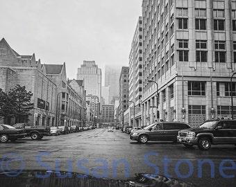 Rainy Streets of Minneapolis, spring photo, Minnesota photo, black and white, wall art, home decor, office art, corporate art, street art