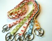 Handmade Fabric Skinny Lanyard - Optional Safety Breakaway - Amy Butler Lotus Moon Dots - Many fabrics available