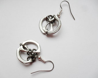 Unique Eco Recycled Earrings, Lightweight, Hypo-allergenic, Pull Tab, Can Tab, Ring Pull Dangle Earrings