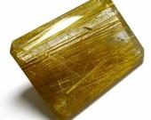 Custom Listing for Alston Rutilated Quartz Loose Gemstone Cabochon Emerald Cut Gold Flax Rutile 3D  Hand Cut Clear Crystal Inclusion Rare