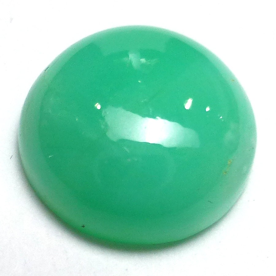 Green Chrysoprase 11mm Round Cabochon on Transparent Translucent Opaque