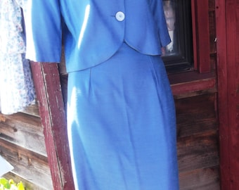 "1950s Blue Silk Suit by ""Mr Marty"", sz S"