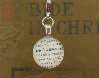 Believe Dictionary Word Clip-on Charm by Kristin Victoria Designs