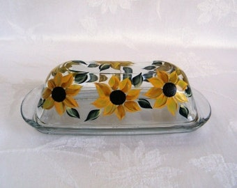 Glass butter dish, butter dish, covered butter dish, butter dish with lid, butter dish with sunflowers, hand painted butter dish