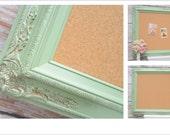 "VINTAGE WEDDING DECOR Escort Card Holder 44""x32"" Decorative Cork Board Bulletin Board Sage Green Framed Shabby Chic French Country Kitchen"