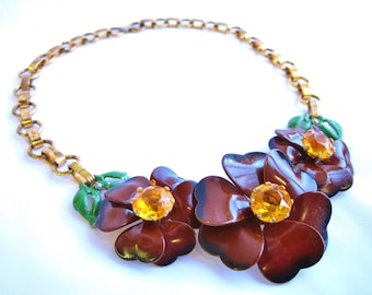 1930s Brown Enamel Flower Necklace with Yellow Center