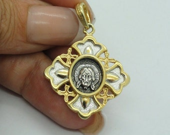 New Unique 925 sterling silver & 24K Gold Plated russian orthodox Pendant (c p433 )