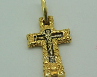 New Unique  Russian Orthodox Cross 925 sterling silver & 24 Gold. Two Sides Pendant. GIFT!!! (c p437)