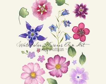 Floral Watercolor Clip Art - Digital and Printable