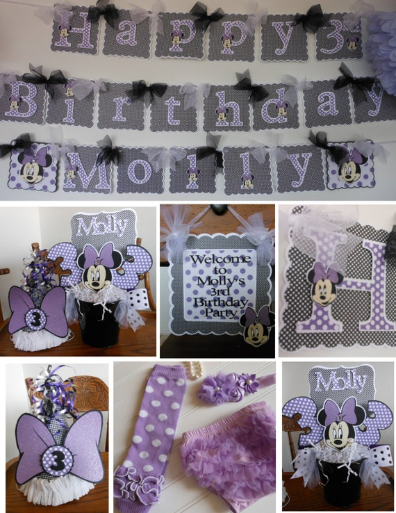 Items similar to minnie mouse purple 1st birthday party for 1st birthday decoration packages