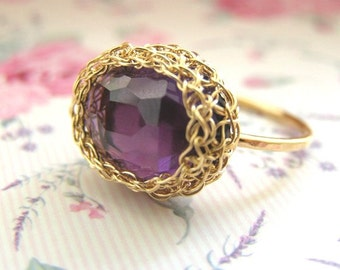 Amethyst Ring, Goldilled Ring, Solitaire Ring, Purple Ring, Bridesmaid Ring, Purple Amethyst Ring, Stacking Ring, Gemstone Ring