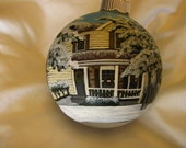 Custom Hand Painted  Glass Ornaments - Featuring Your Special Home with a snow and Christmas theme!