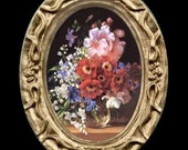 Oval Floral Still Life Miniature Dollhouse Art Picture 6353
