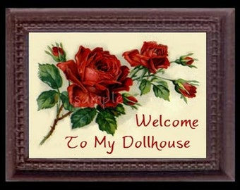 Vintage Rose Miniature Dollhouse Art Picture 6295
