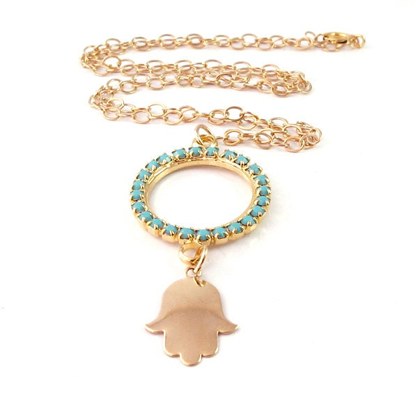 Turquoise hamsa necklace, 14K Goldfiled hamsa, hamsa pendant, bridesmaid jewelry, charm necklace, gold hamsa, crystal jewelry