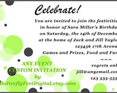 Printable Invitation Lime Green and Black Bubbles Personalized for your special Event