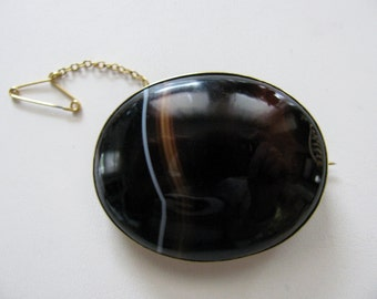 Victorian Brooch Banded Agate- Original